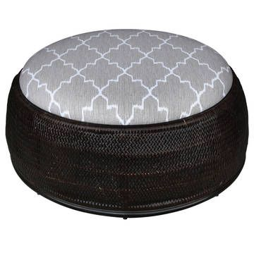 Rattan upholstered ottoman coffee table in chic ikat pattern ...