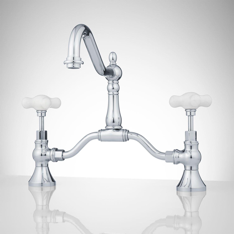 Elnora Bridge Bathroom Faucet - Large Porcelain Cross Handles - No ...