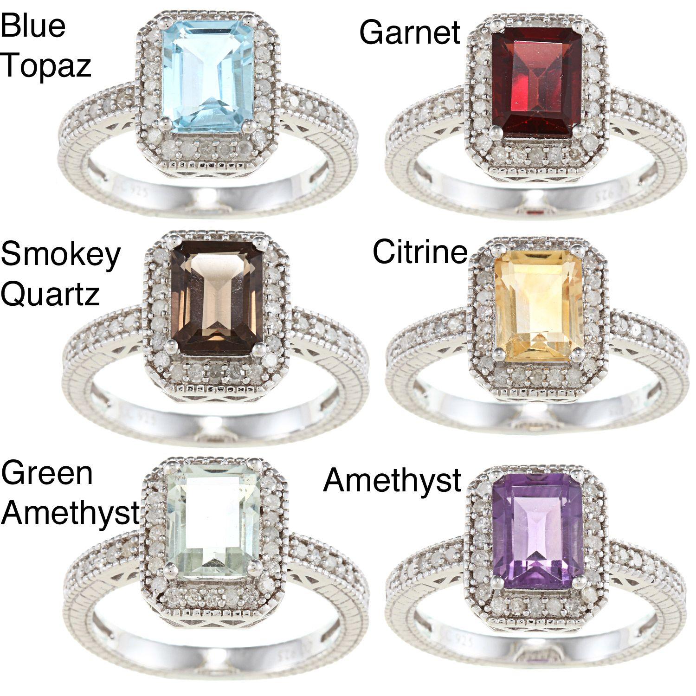 Gemstone and white diamond ring