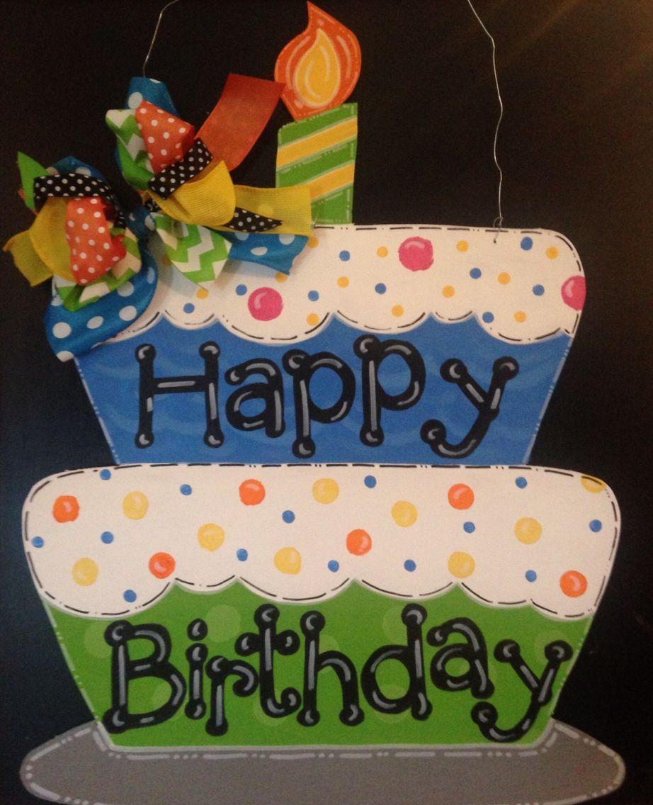 birthday celebration cake wood Birthday Cake Happy Birthday Cake Door Hangerwall Decor