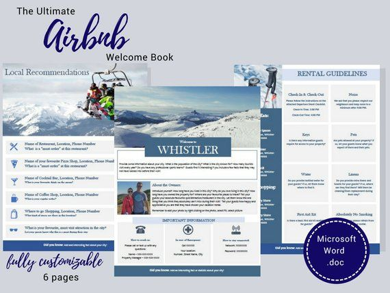 Welcome Book - Whistler - Guest Book - Airbnb - Ski - Vacation
