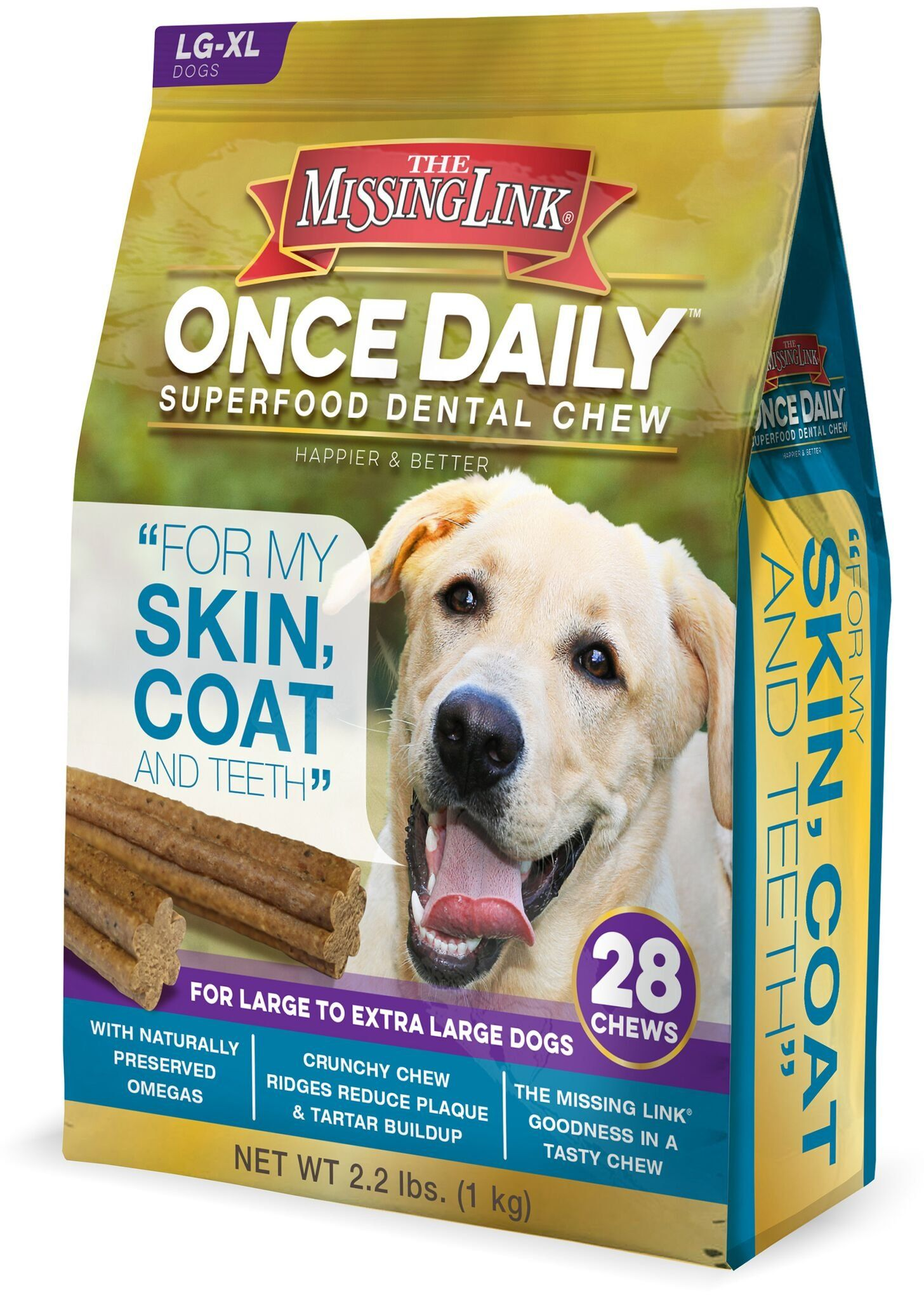 The Missing Link Once Daily All Natural Omega Dental Chew Skin Coat And Teeth L Xl Dog 28 Day Supply Click Image To Evalua Dental Dog Chews Happy Dental