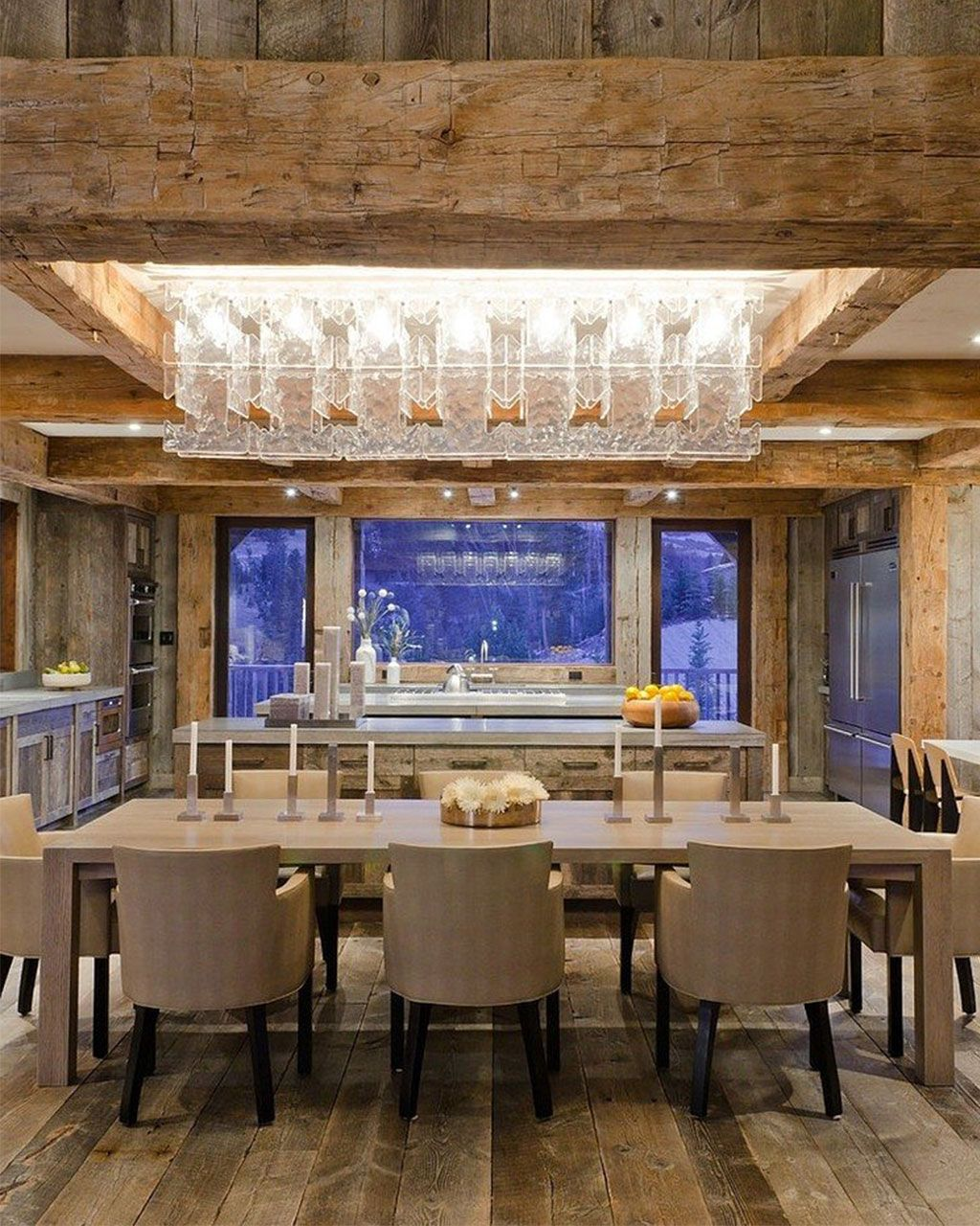 Modern rustic homes interior - Fabulous Dining Room Area And Kitchen In This Modern Rustic Lodge Casual Meets Elegant