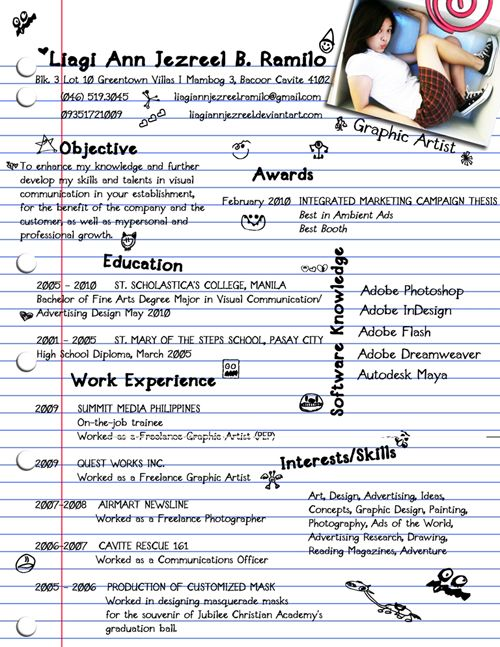 40 Stunningly Creative Resume Designs on DeviantArt resumes - examples of interests on a resume