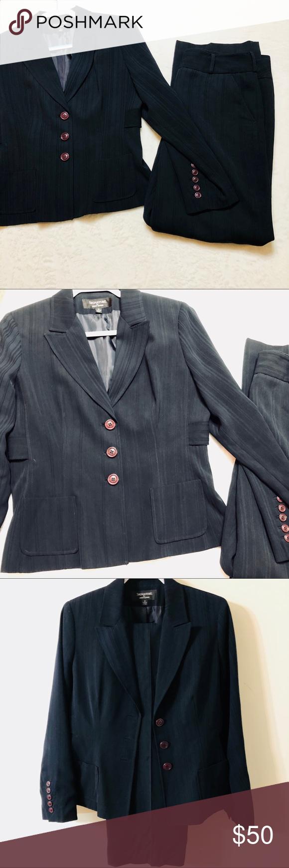 Signature by Larry Levine Pinstripe 2 Piece Suit Two piece suit set, blazer and ...#blazer #larry #levine #piece #pinstripe #set #signature #suit