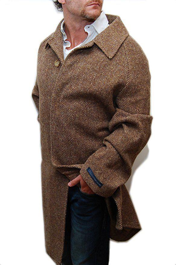 Polo Ralph Lauren Mens Herringbone Overcoat Jacket Coat Wool Italy Brown 44R