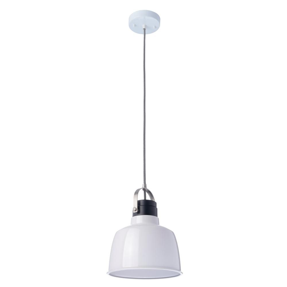 Globe Electric 1 Light White Pendant Black Accent With