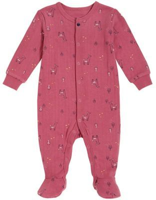 Petit Lem   Size 3M Allover Deer Organic Cotton Footie In Dark Pink - Your little one will be ready for dreamland in ultra-soft comfort with this Petit Lem Allover Deer Footie. Made of luxurious organic cotton with a full snap front and built-in footies, this adorable design offers total freedom of movement.