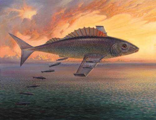 Landschaftsmalerei surrealismus  Vladimir Kush - - - Flying Fish | Vladimir Kush | Pinterest ...