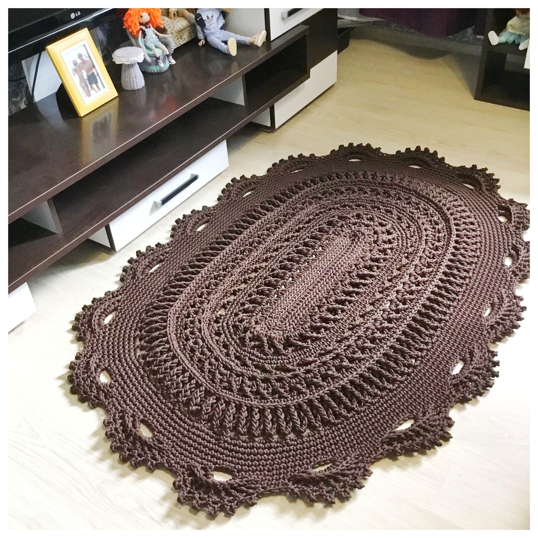 Crochet Video Tutorial On An Oval Bedside Carpet Video In Etsy In 2020 Crochet Videos Tutorials Crochet Rug Patterns Crochet Videos