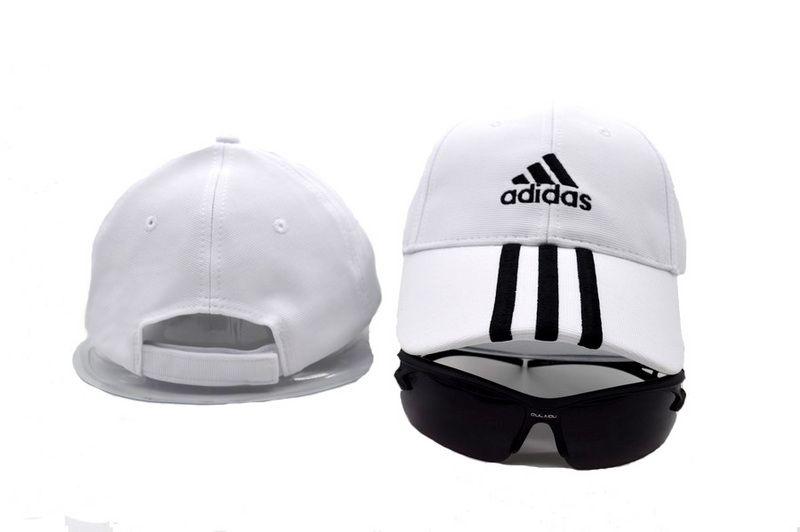 2e37a79c3eb Mens   Womens Adidas Basic Logo Essential 3 Stripe Embroidery Sports  Fashion Baseball Velcro Back Adjustable Cap - White