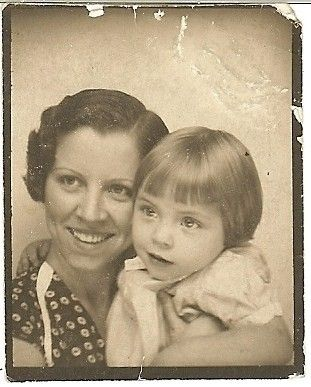 +~ Vintage Photo Booth Picture ~+  Mother and a daughter who looks like she's about to flee.