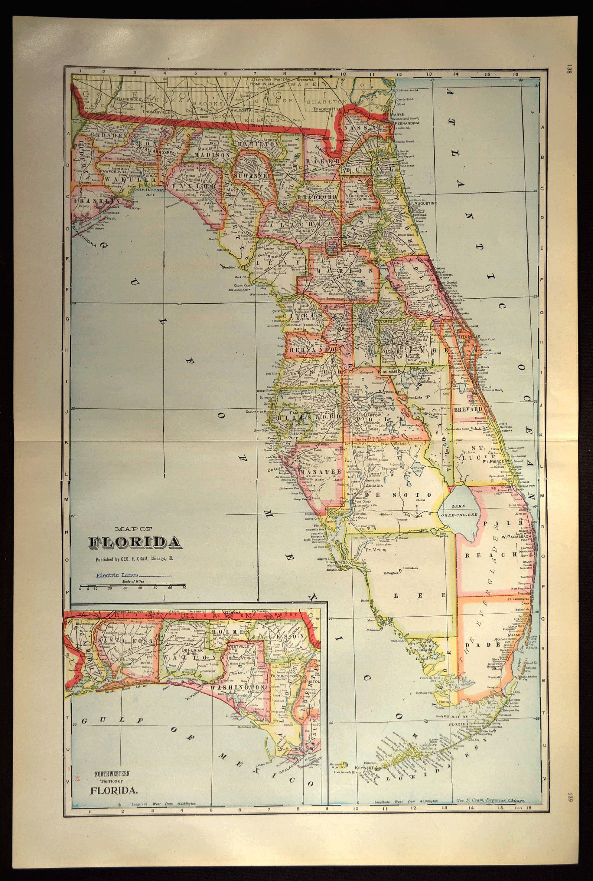 County Map Florida.Florida County Map Florida Large Antique Colorful Map Wall Decor