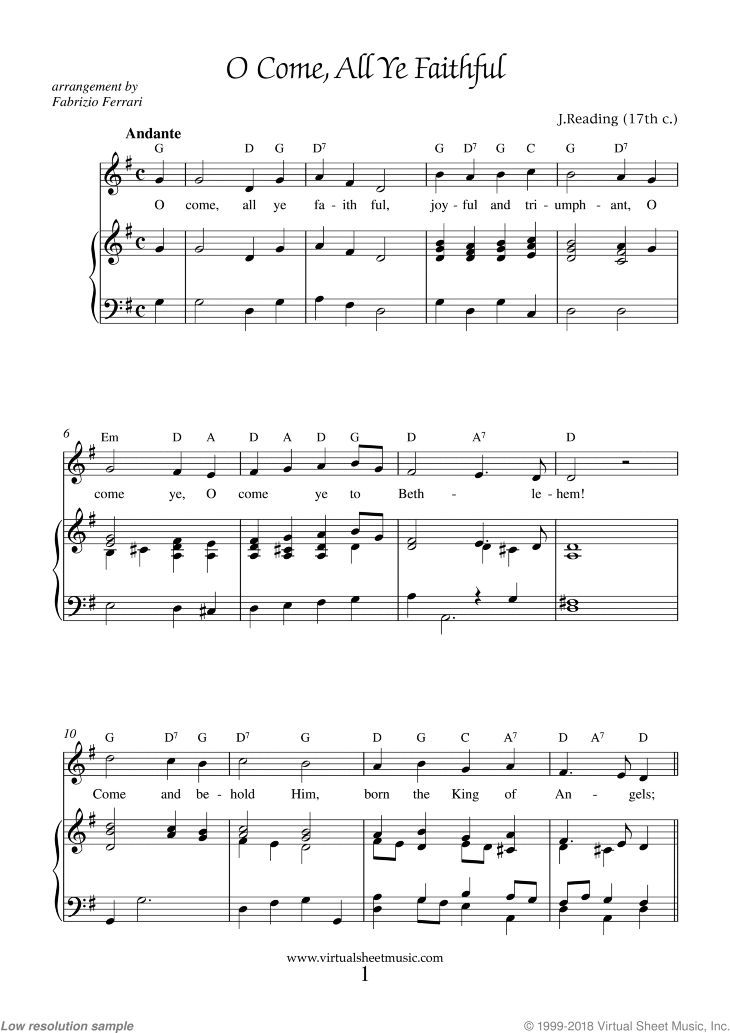 reading o come all ye faithful adeste fideles sheet music for piano voice or other. Black Bedroom Furniture Sets. Home Design Ideas