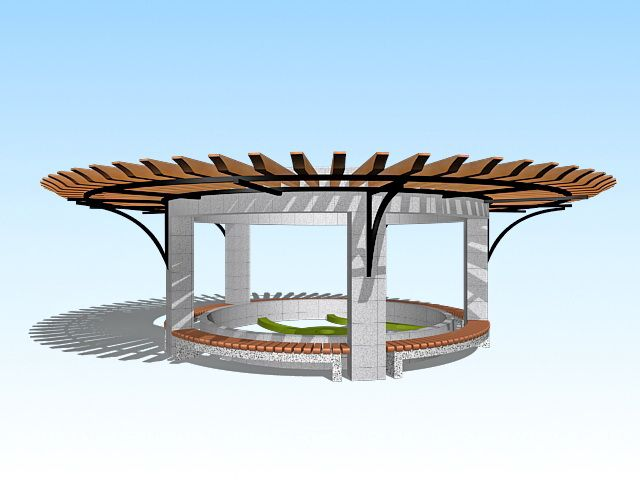 Round garden pergola 3d model 3ds Max files free download ...