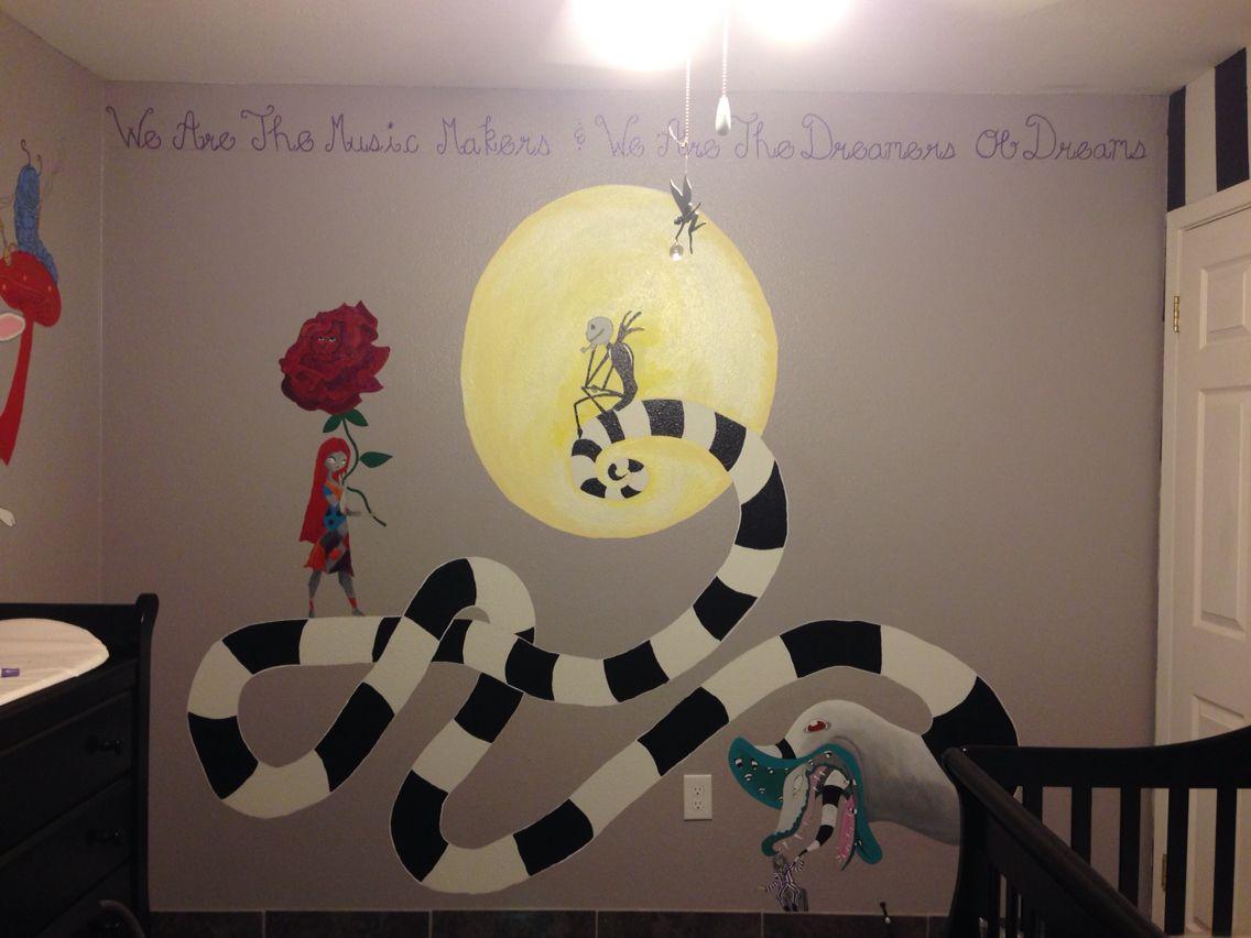 Nursery Mural For Baby Dawson Inspired By 4 Tim Burton Movies Alice