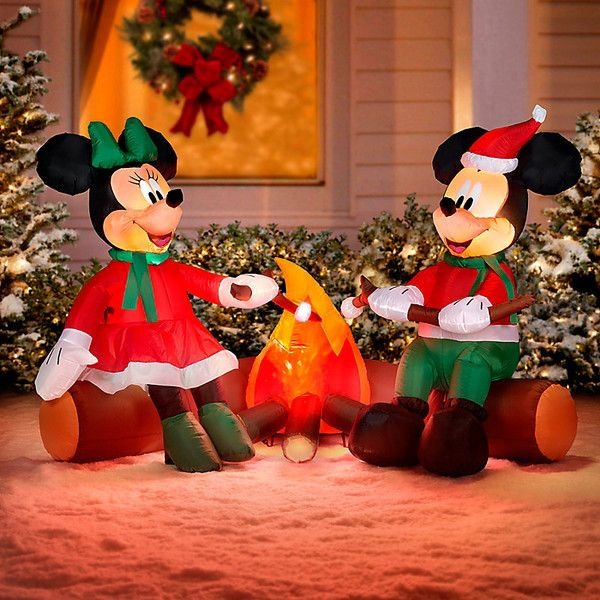 Improvements 4\u0027 Minnie and Mickey Mouse Christmas Inflatable ($130 - christmas blow up decorations