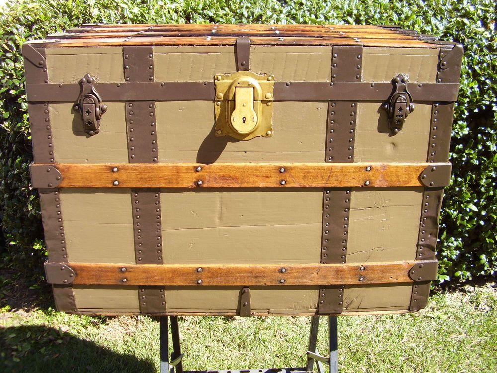 Antique Flat Top Steamer Trunk 22