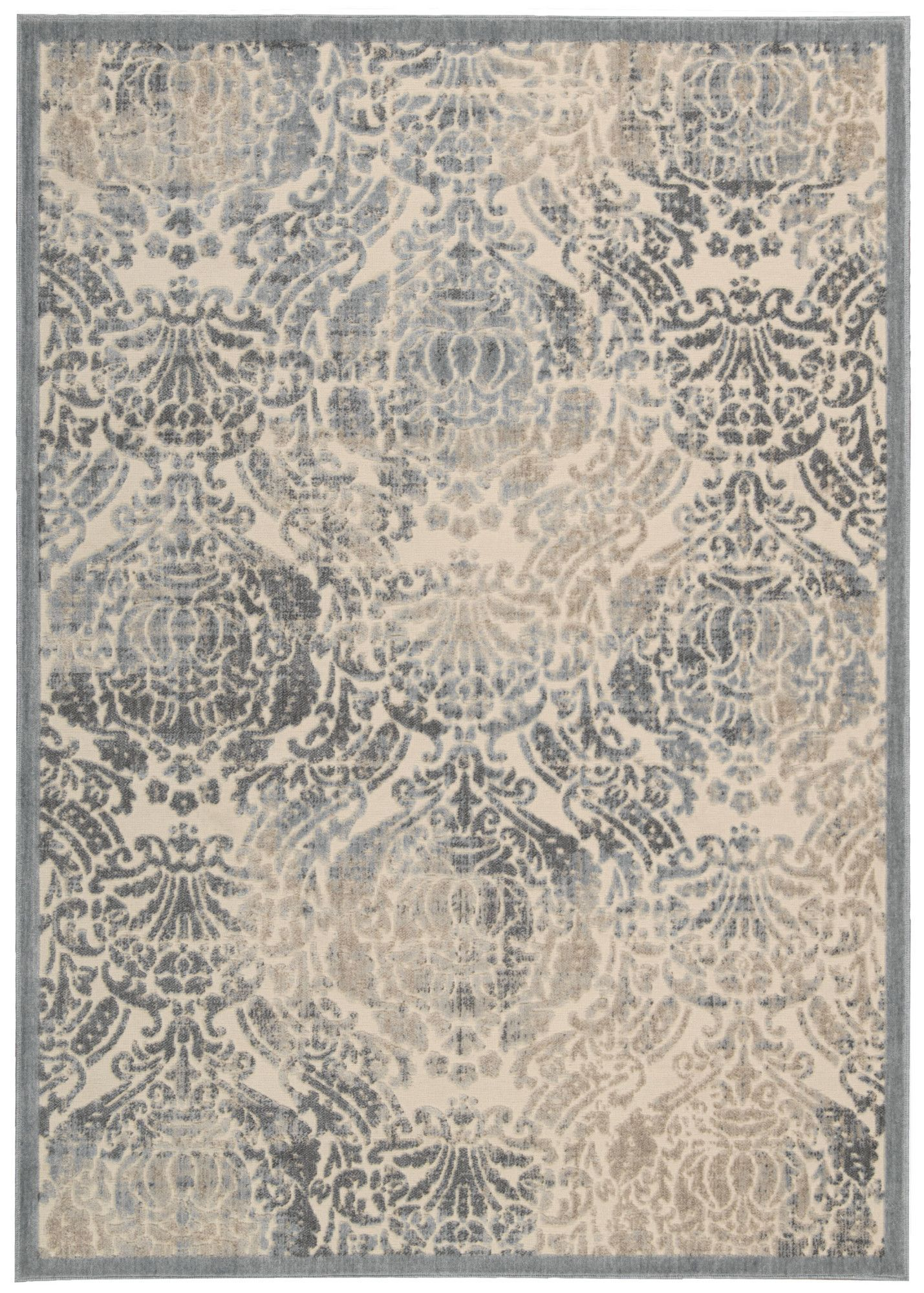 Nourison Graphic Illusion Sky Blue Ivory Area Rug