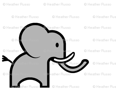 This cartoon elephant is so cute and simple i want to draw it on everything i own