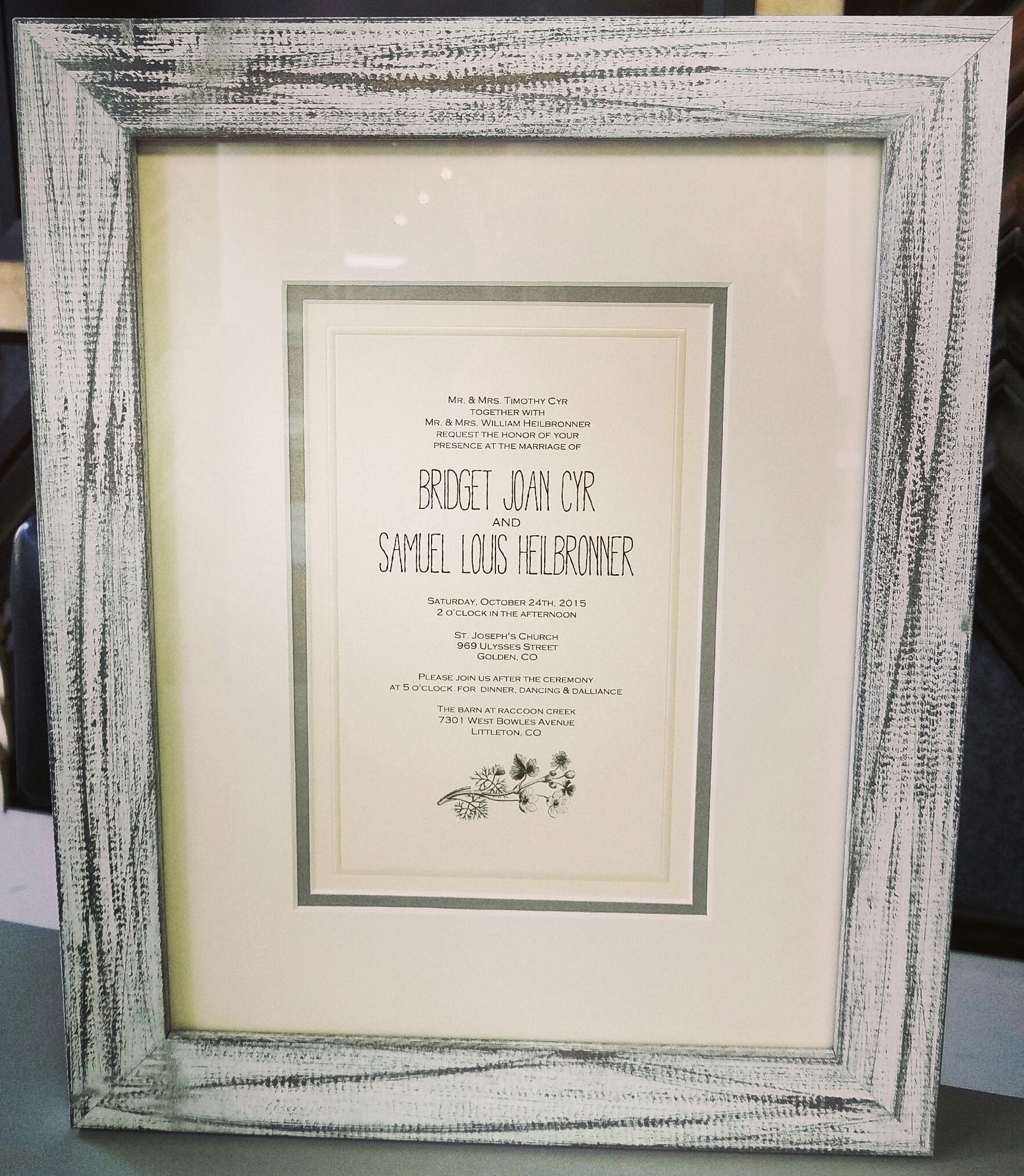 Custom framed wedding invitations make great gifts for the bride and ...