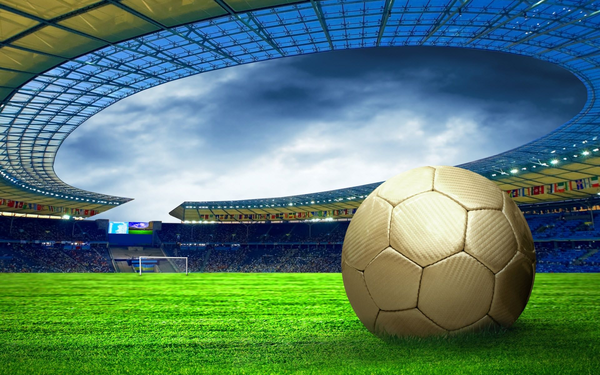 Football Stadium Hd Desktop Wallpaper Wallpapersme Soccer Ball Soccer Stadium Football Stadiums