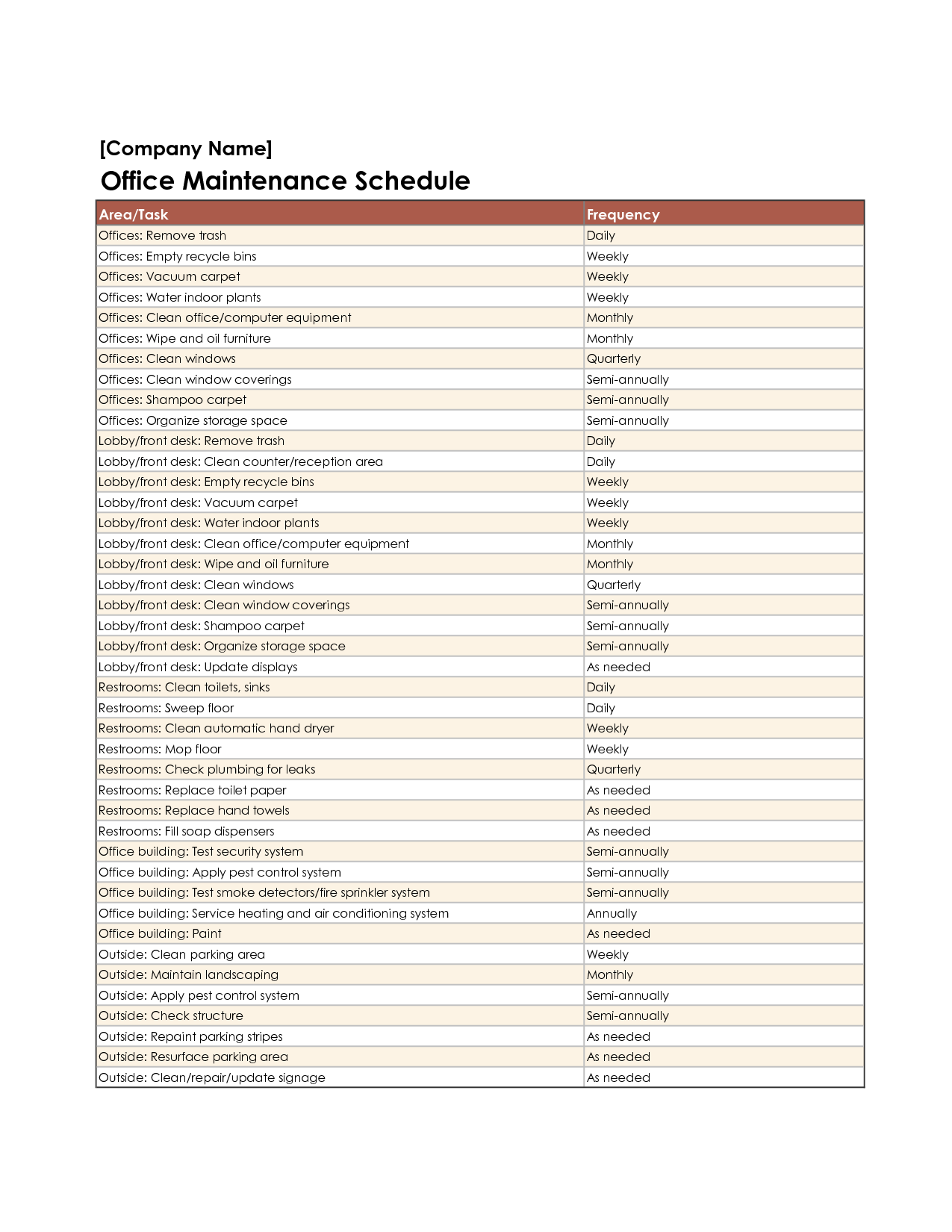 Equipment maintenance schedule template excel http www for Yearly garden maintenance schedule