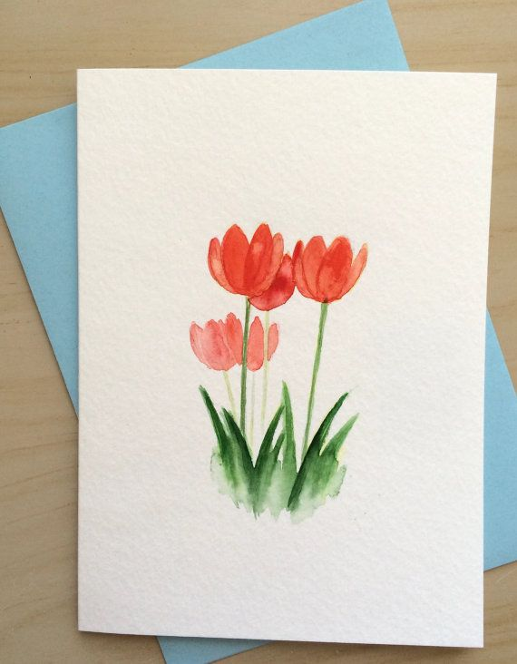 Hand Painted Greeting Card 5x7red Tulips Card By Cardwithheart