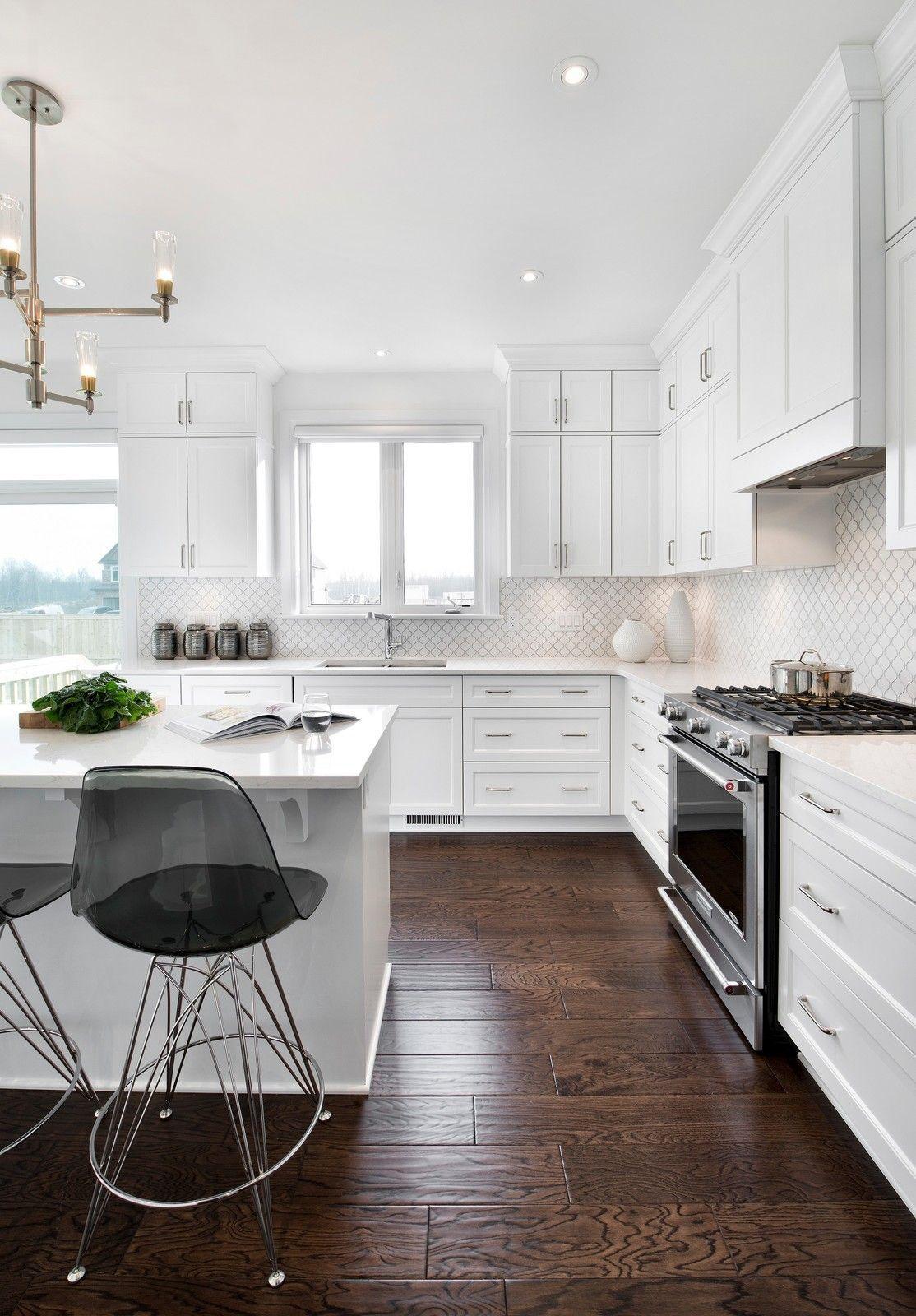 Large transitional lshaped dark wood floor kitchen photo