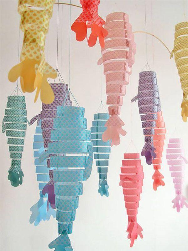 Moviles de papel peces de colores crafts with paper - Manualidades con papel de colores ...
