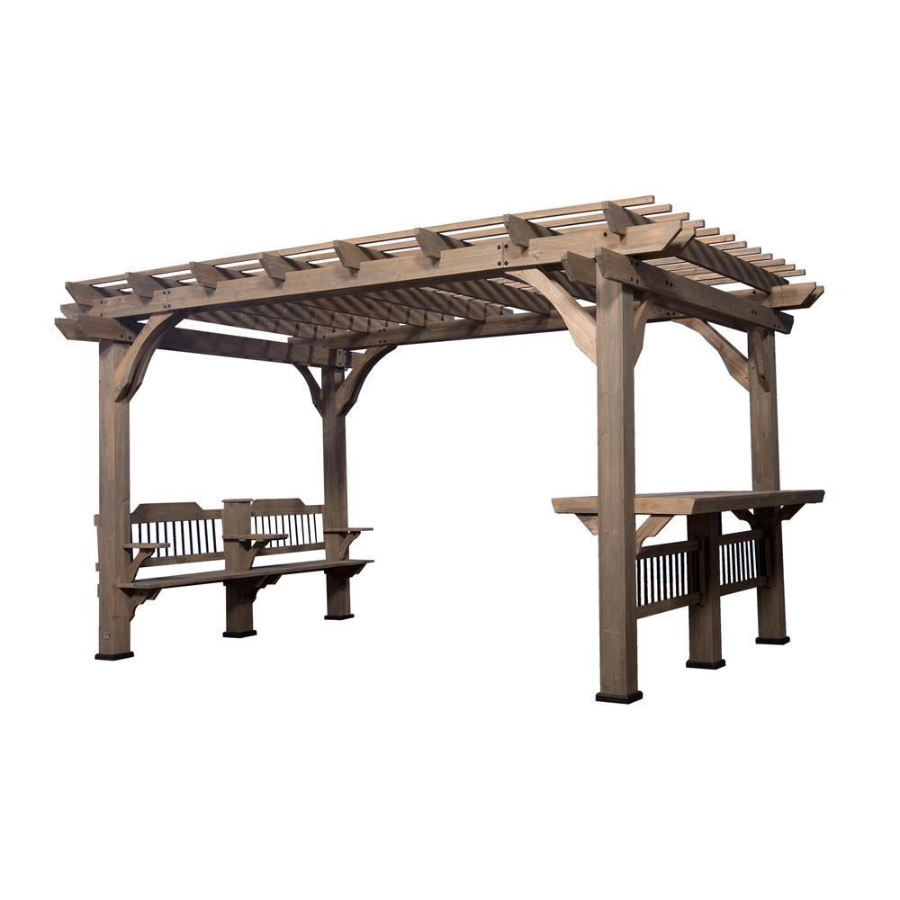 Backyard Discovery Oasis 14 Ft X 10 Ft Barnwood Cedar Wooden Pergola 1706514com The Home Depot Wooden Pergola Outdoor Pergola Cedar Pergola