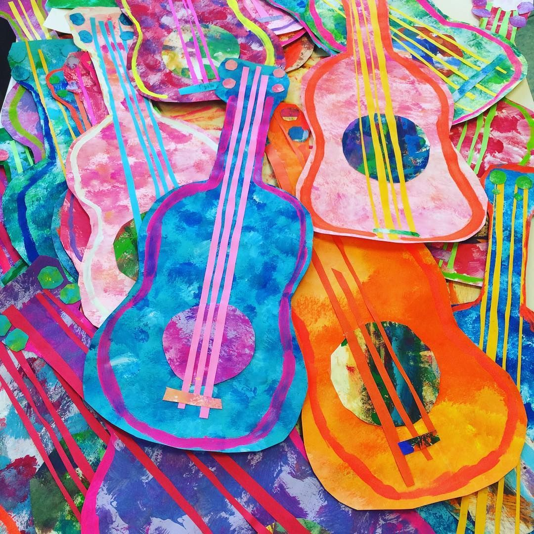 Guitars! These painted paper guitars are going into our Mexican Marketplace along with our full Dia de los Muertos celebration! Stay tuned! #elementaryart #iteachtoo #iteachart #kidsart #arted #kidsartwork #kidsartclass  #kidscrafts101 #kidscrafts #teachers #artclass #teachersfollowteachers #teachersofig