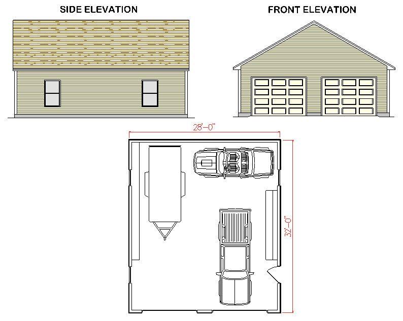 28 x 32 garage plans
