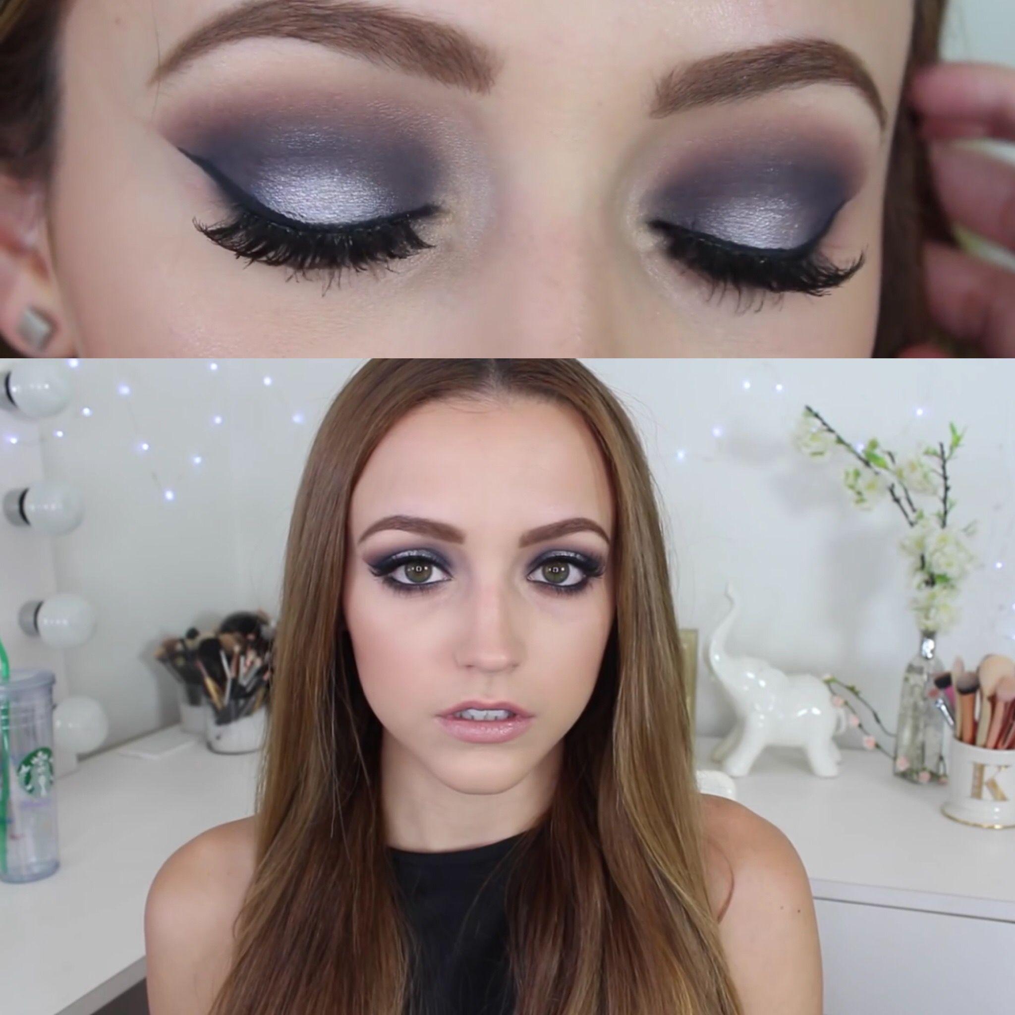 Navy Blue & Silver Smokey Eye Makeup Tutorial Silver