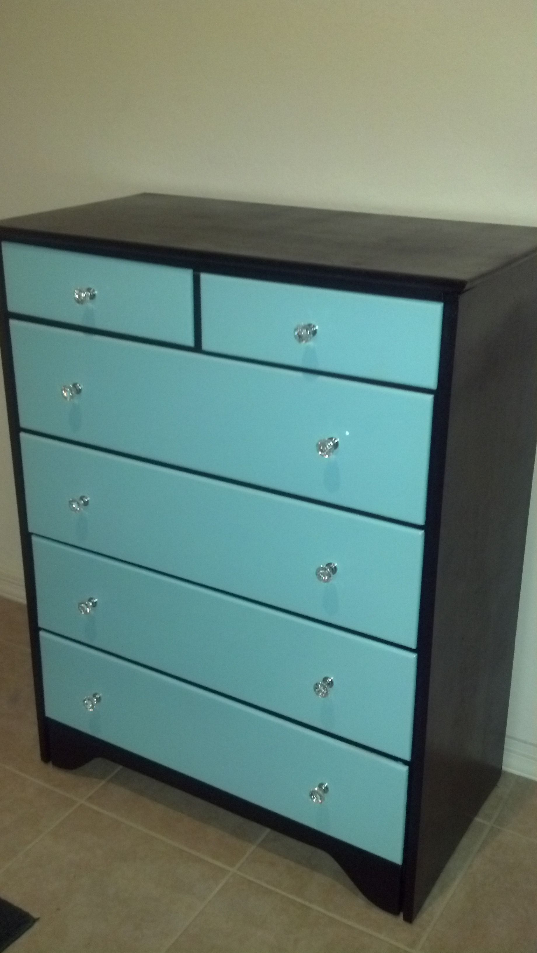 Black And Tiffany Blue Dresser With Acrylic Drawer Pulls I Did A Good Job
