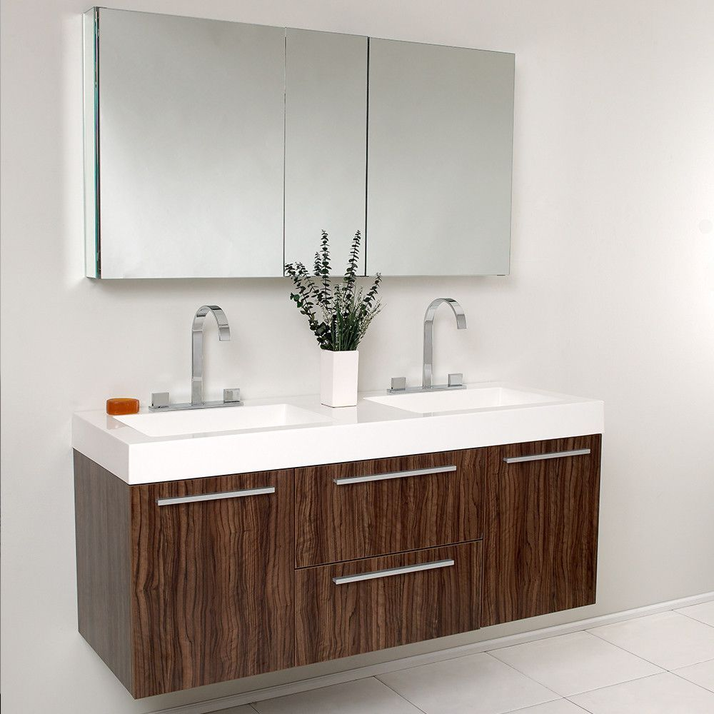 Fresca Opulento Walnut Modern Double Sink Bathroom Vanity w/ Medicine Cabinet
