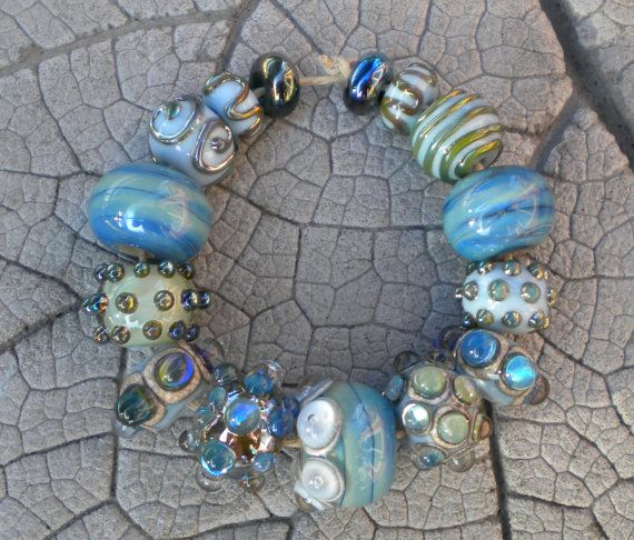 Silver Glass and Light Blue Lampwork Beads by Cherie by happyskull, $38.00