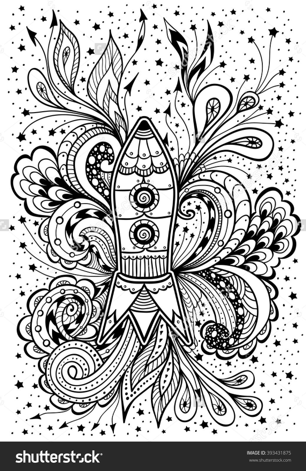 Zendoodle or zentangle rocket in space black on white for coloring