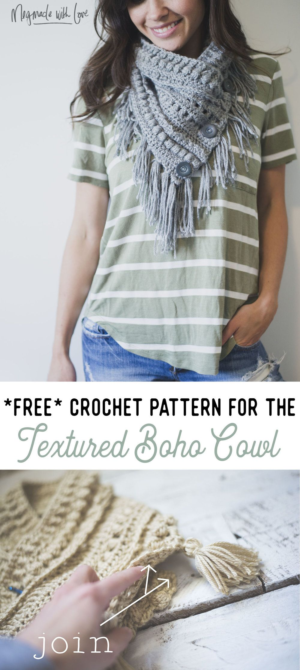 Free Crochet Pattern for the Textured Boho Cowl | Crocheting ...