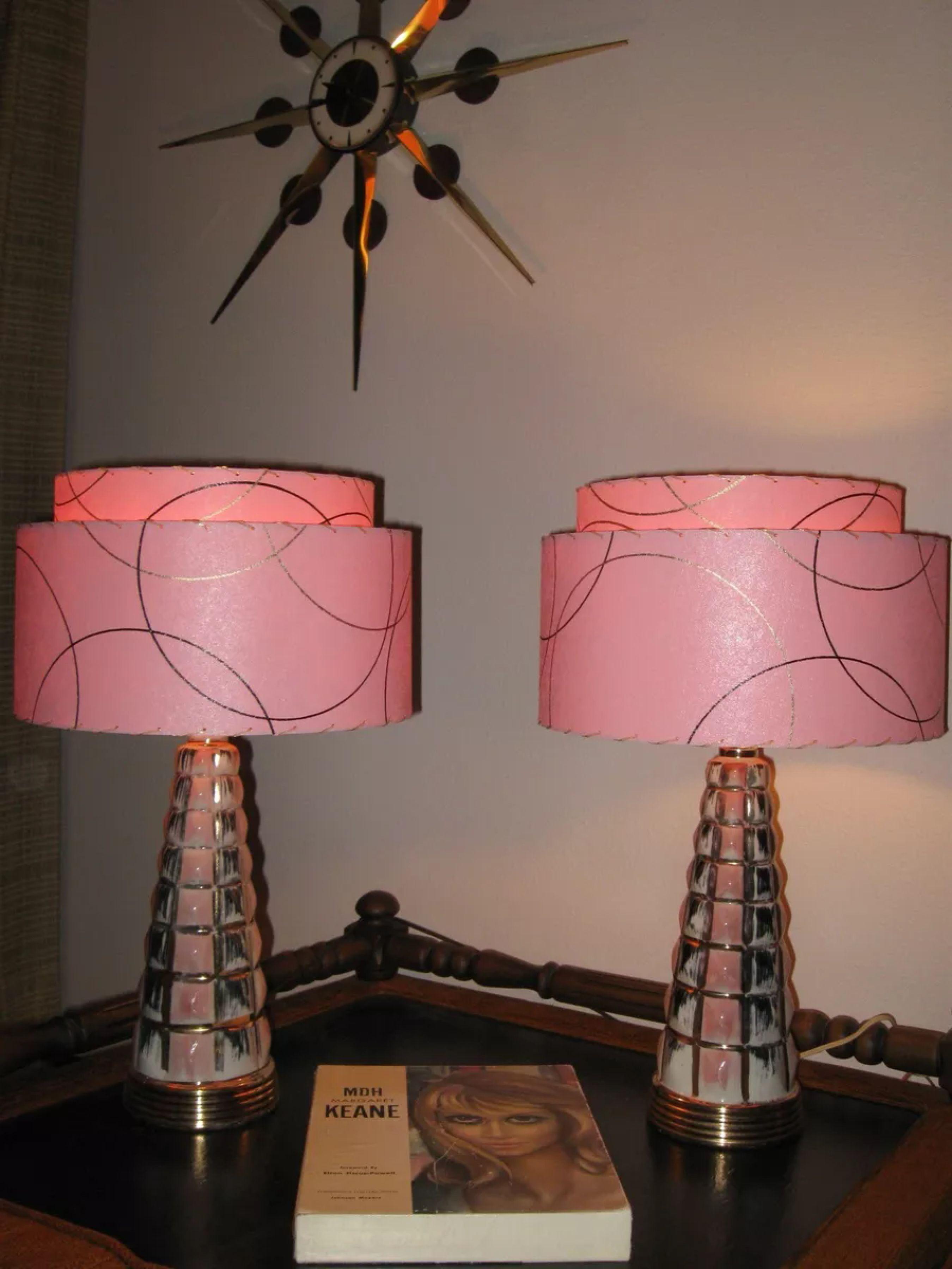 Pair Of Mid Century Vintage Style 2 Tier Fibergl Lamp Shades Atomic P2