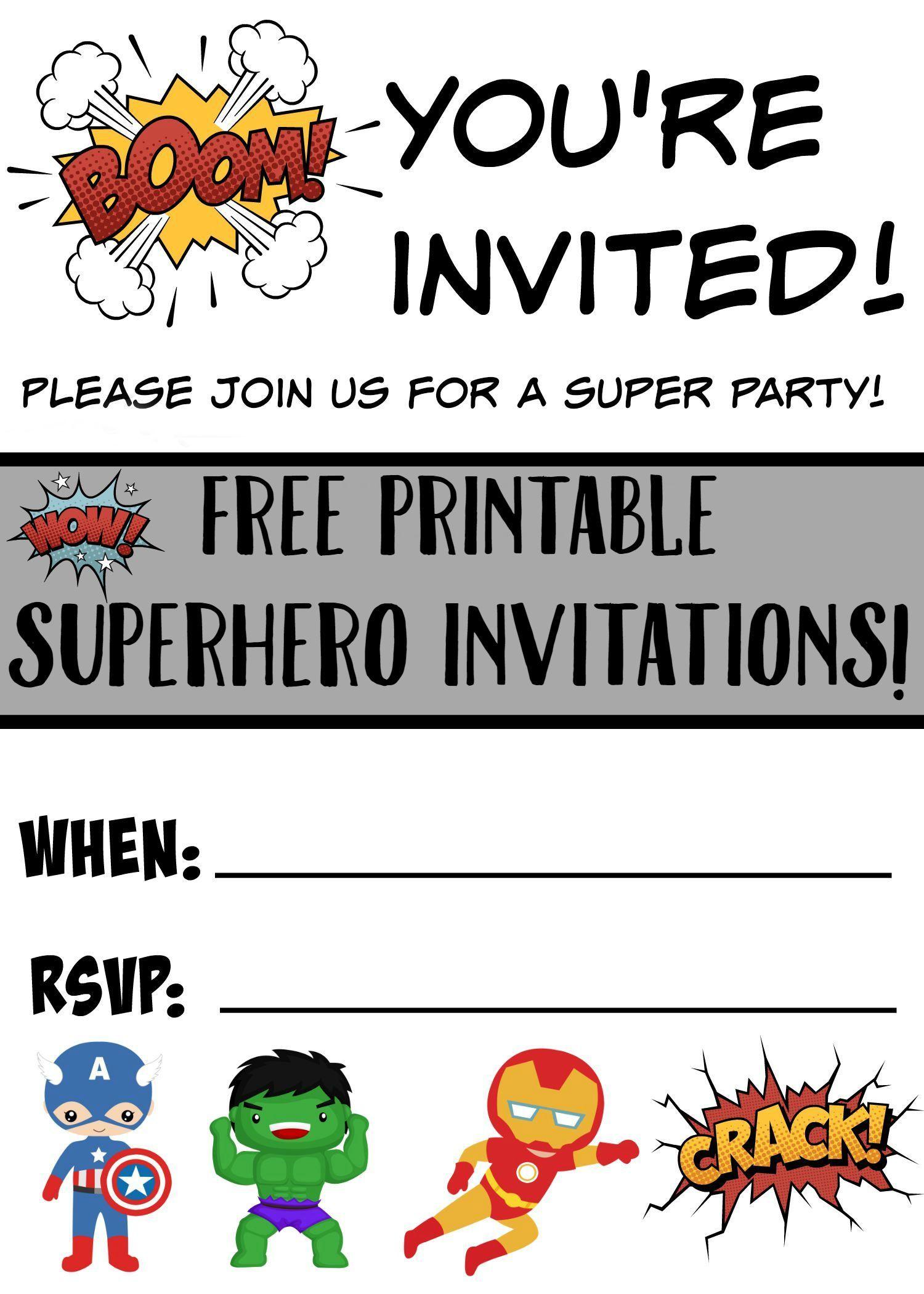 Free Printable Superhero Birthday Invitations – Superhero Birthday Invitations Free Printable