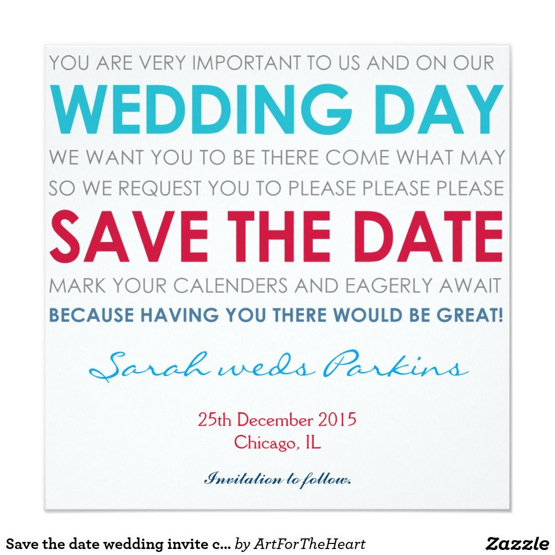 Save the date wedding invite card blue poem | Wedding and Weddings