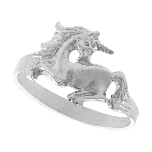 Sterling Silver Unicorn Ring Polished finish 3/8 inch wide, size 7.5, Women's