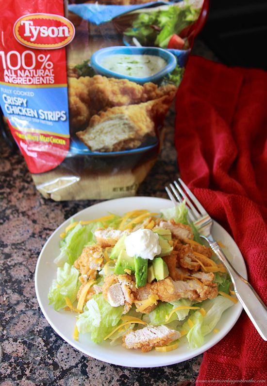 Crispy Chicken Salad on www.cookingwithruthie.com is a quick meal solution! @tysonrecipes  #spon @walmart