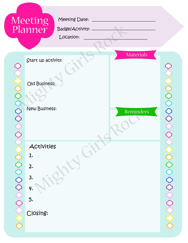 Troop Meeting Planner Printable Sheet