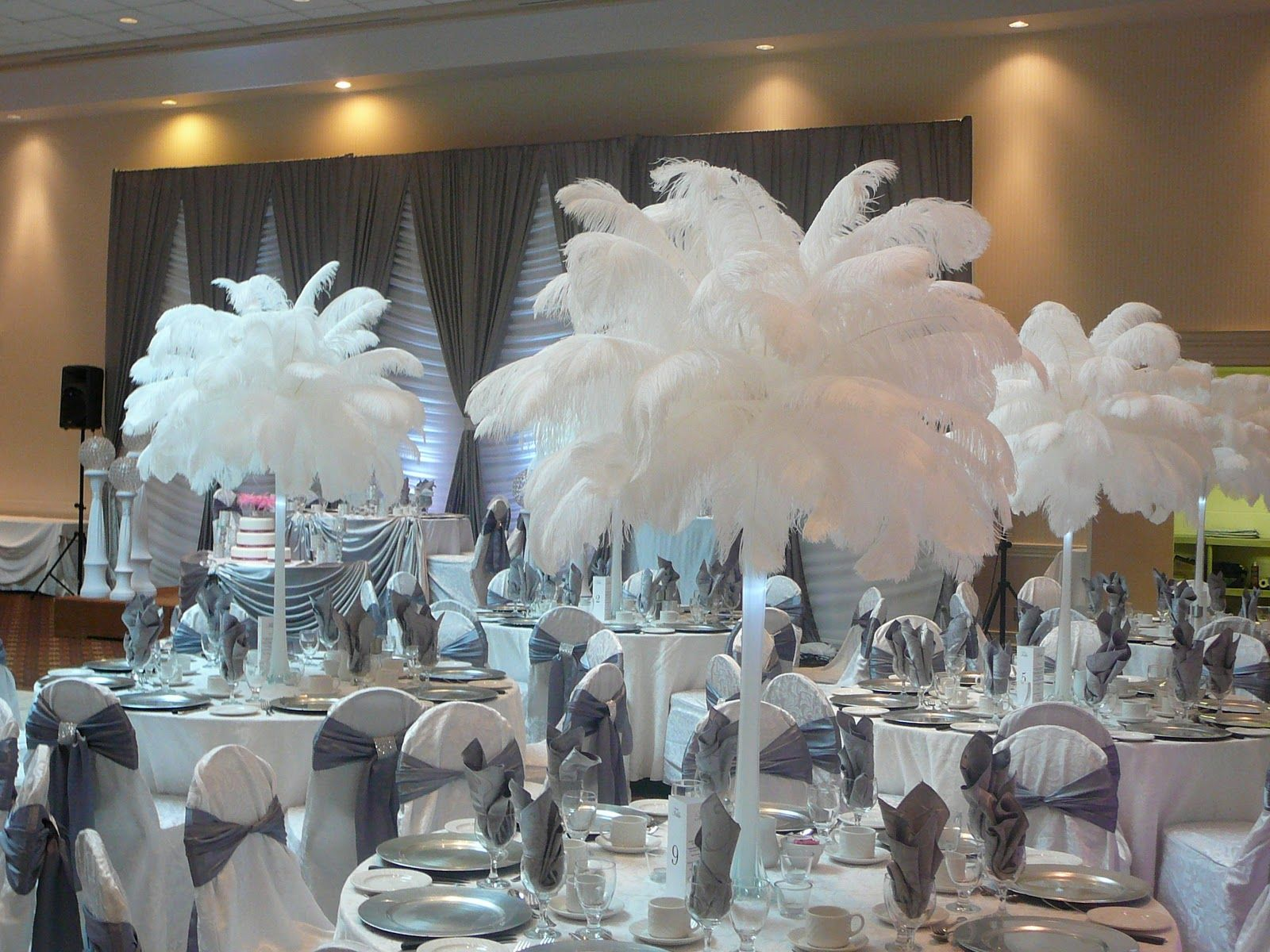 Feather And Flower Centerpieces For Wedding Google Search