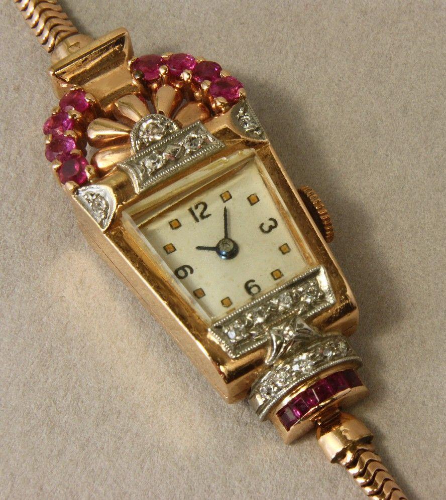 Deco 14k Ladies Wrist Watch With Rubies Amp Diamonds Ca