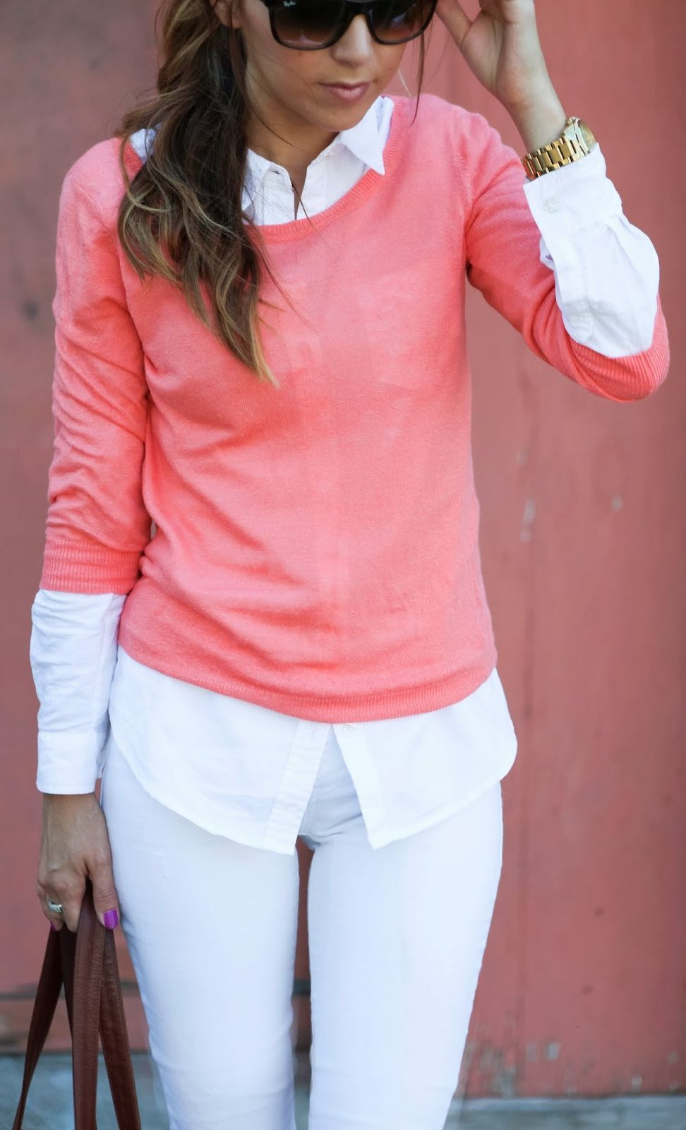 8d6781ae3e2 Pink Layered Knit Jersey over a white button down