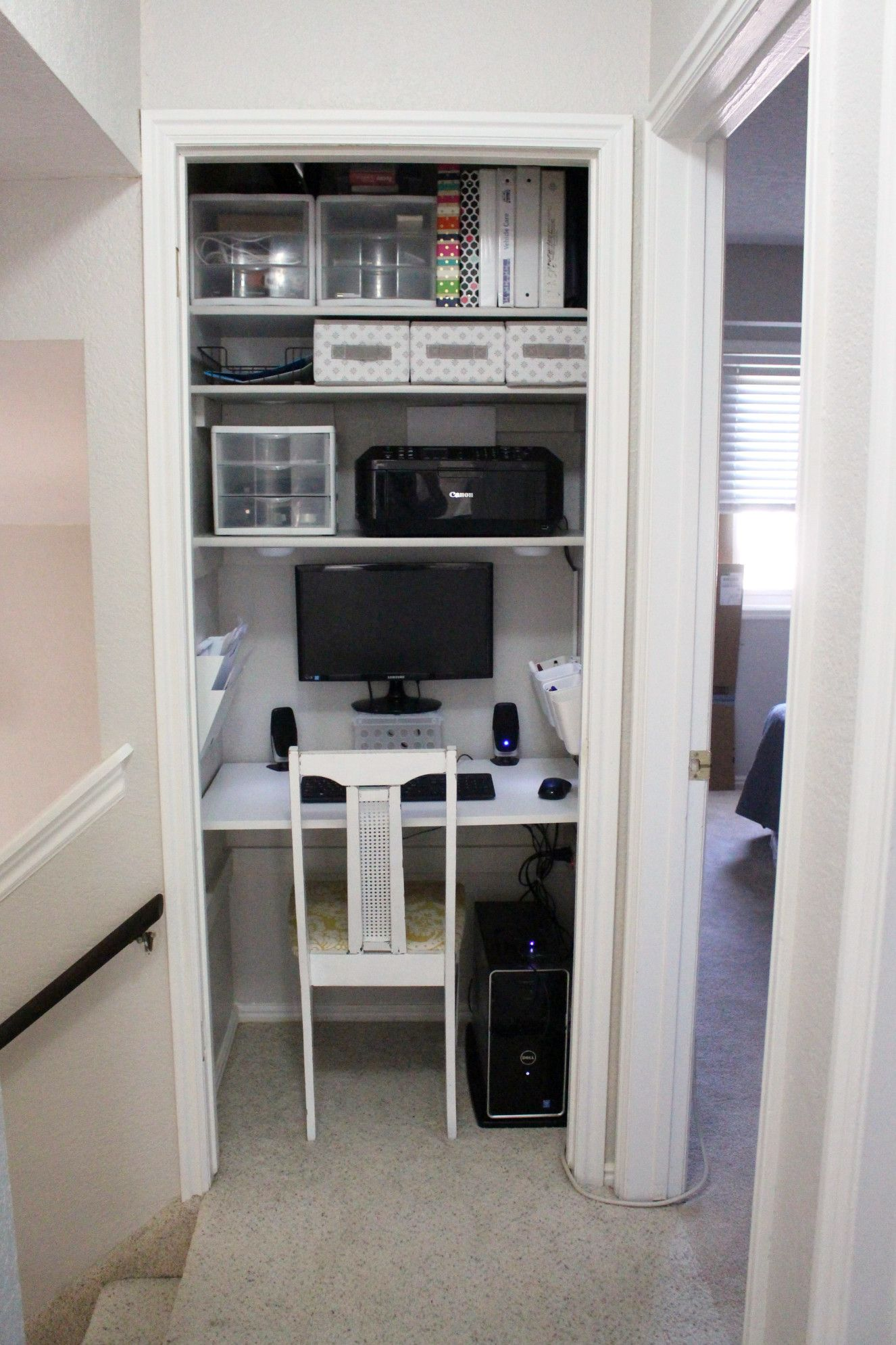 How We Converted A Closet Into An Office Home Office Closet Closet Turned Office Closet Desk