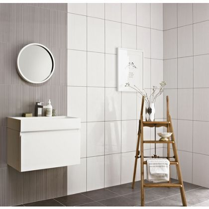 Linea Beige Ceramic Wall Tile 10 pack   Grey wall tiles, Wall tiles ...